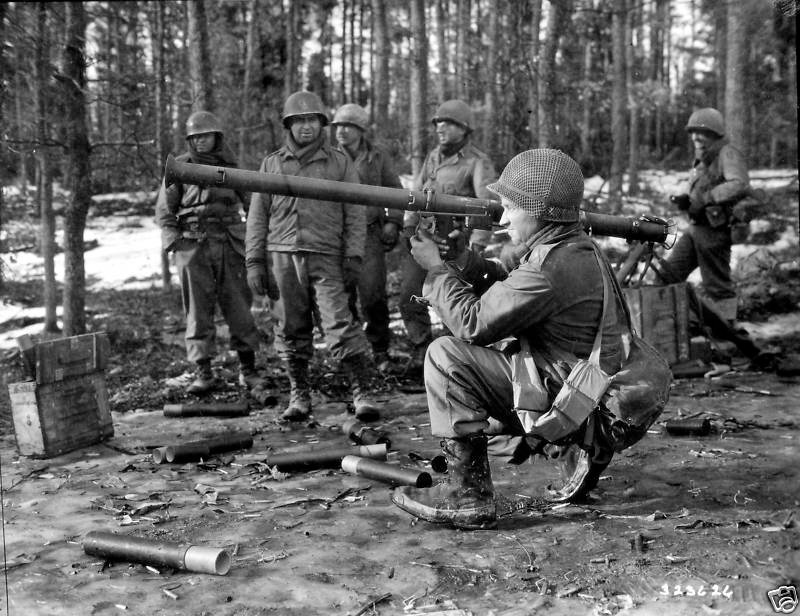 9th Infantry troops practice with bazooka- signal corps