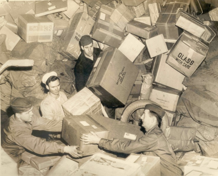 U.S. Troops Surrounded by Holiday Mail
