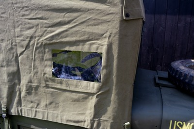 usmc amb jeep canvas top detail window