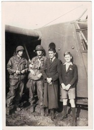 WWII Photo Pilots and Paratroopers with Local Boys At GLIDER